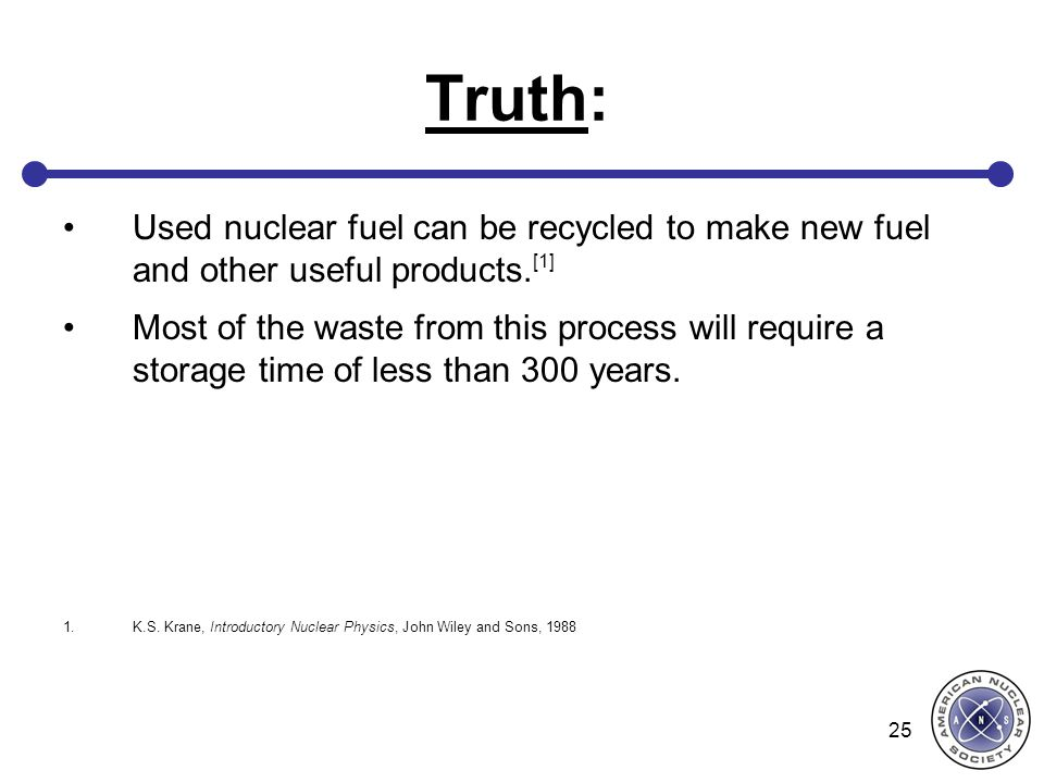 Truth: Used nuclear fuel can be recycled to make new fuel and other useful products.[1]